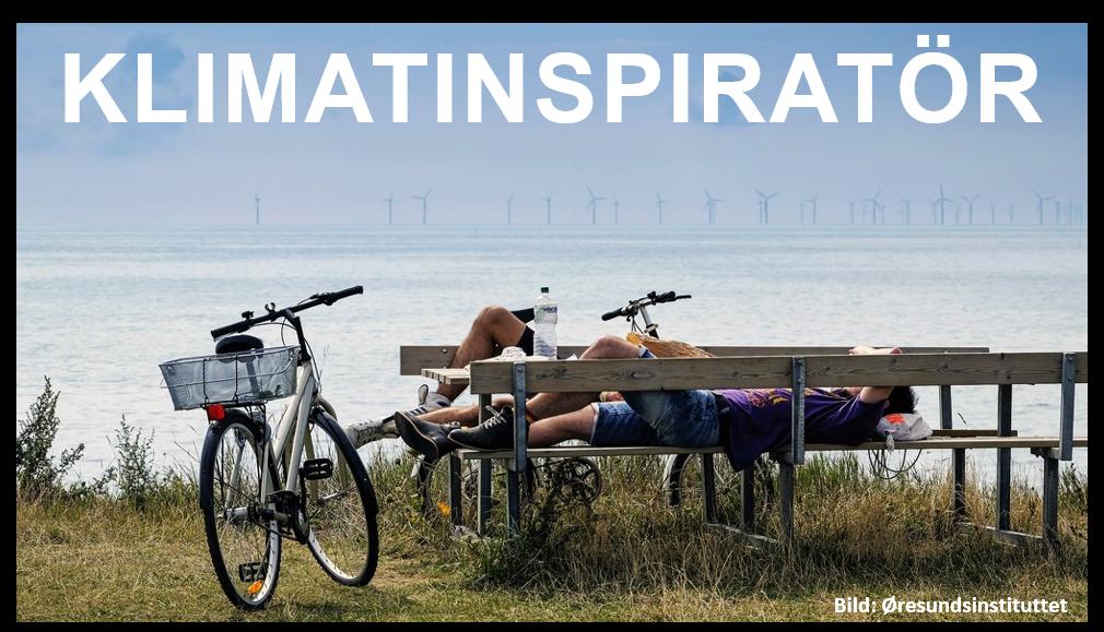 Cyklister vilar på bänk framför vindkraftspark vid havet.